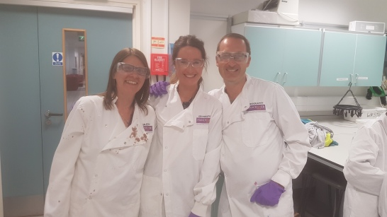 Some of the Read with SEED team, Emma, Ruth and Jonathan in the labs